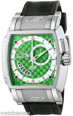 Invicta 6225 S1 Green Dial Black Rubber Strap GMT Men's Watch