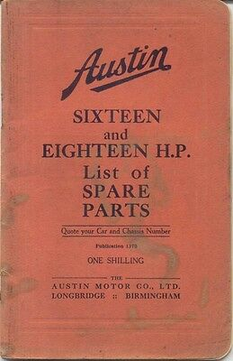 Austin Sixteen 16 & 18 original  illustrated Spare Parts List 1936 Pub. No. 1370