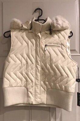 Blanc Noir Womens Cropped White Puffer Vest XL](blanc noir puffer vest)
