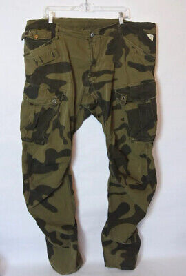G-STAR Arctic Rovic Arc 3D Loose Tapered Green Camo Pants Mens Sz 40x36