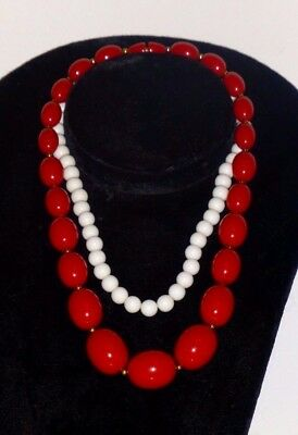 White Bead Necklace and Red Bead Necklace - Red Bead Necklaces