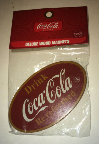 NEW NOS COCA-COLA MAGNET OVAL SHAPE DRINK COCA-COLA Deluxe Wood Magnet