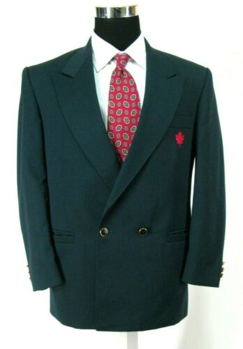 Air Canada Uniform Double Breasted Blazer Sz 38S Dark Teal Green Wool Jacket