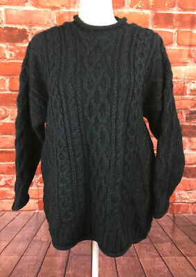 Celtic Country Oversized Womens Small Wool Cable Knit Fisherman Sweater Ireland