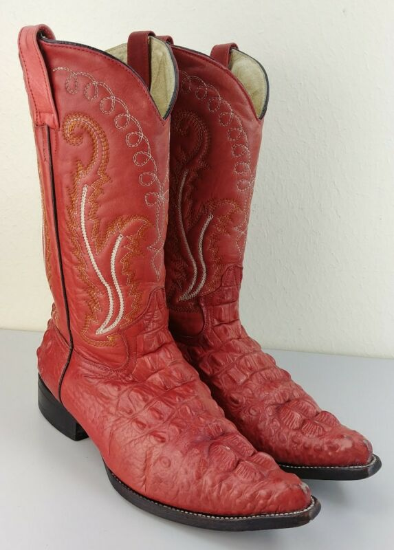 Vintage, Mens, Red, Crocodile, Alligator, Tail, Leather, Western, Cowboy, Boots, Riding