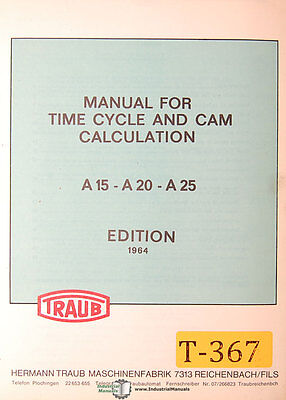 Traub A15 A20 A25 Time Cycle And Cam Calculations Manual