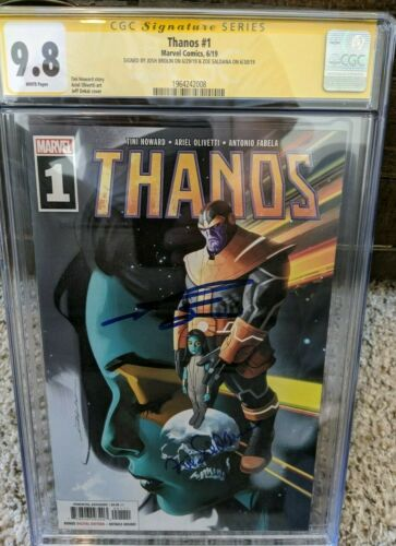 Thanos #1__CGC 9.8 SS__Signed by Josh Brolin and Zoe Saldana