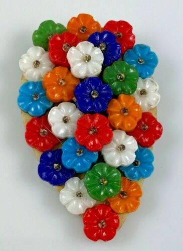 Colorful Celluloid Flowers Dress Clip Colorful, 30's, 40's