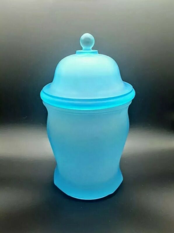 "Vintage Blue Satin Glass Canister 10"" Tall Great Condition"