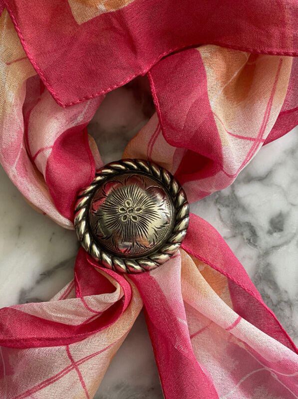 """Sterling Silver Etched Flower Scarf Slide 27g, 2"""", 0521"""