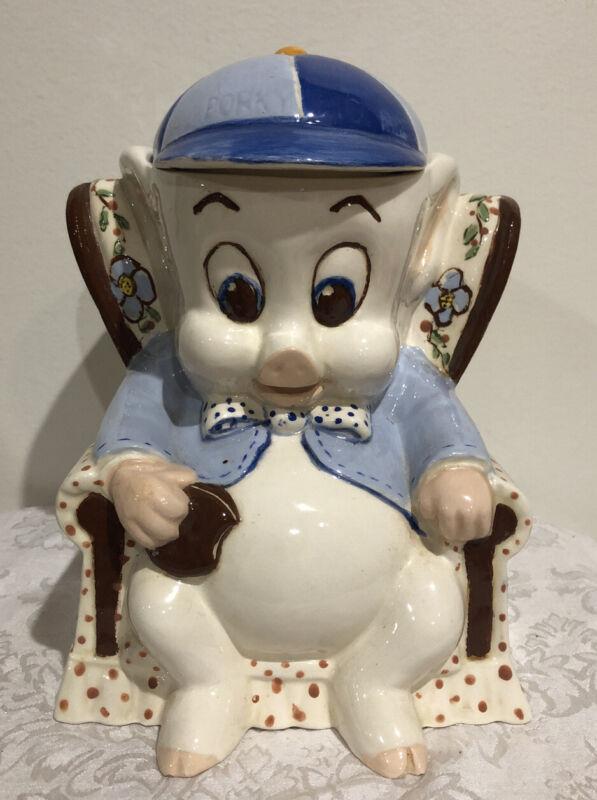 """Vintage 1975 Porky Pig Warner Bros 11"""" Cookie Jar Ceramic"""