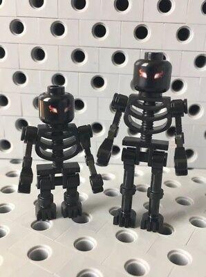 Lego Black Skeleton Mini Figures Heads Skull Halloween Set Of 2 Different Sizes