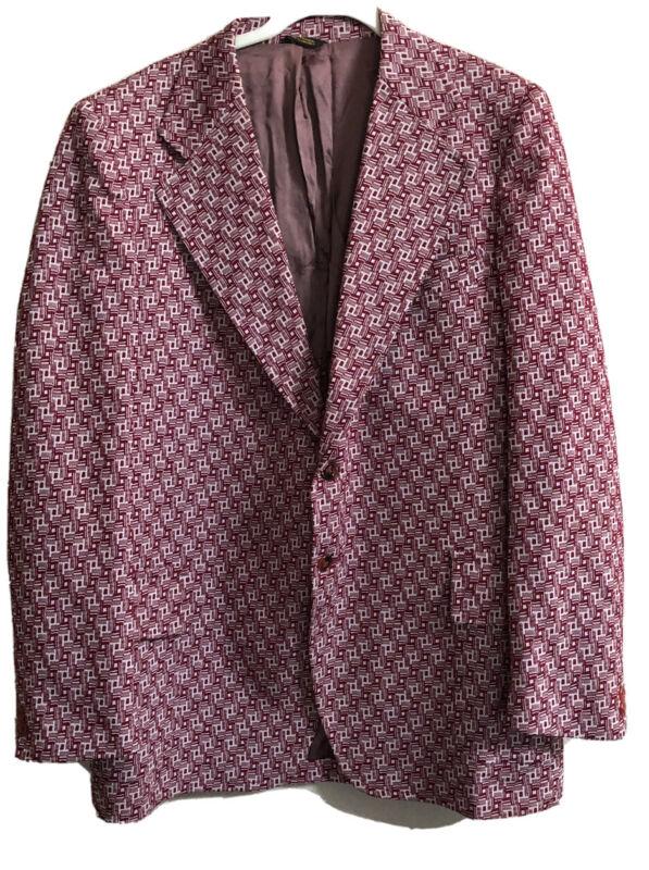 Vtg 60s 70s Burgundy Plaid Polyester Blazer Leisure Suit Jacket Retro Men  44 ?