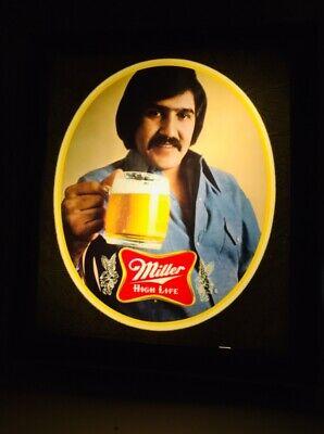 """VINTAGE MILLER HIGH LIFE ADVERTISING LIGHTUP SIGN VGC c1980 Latino Man? 12 X 10"""""""