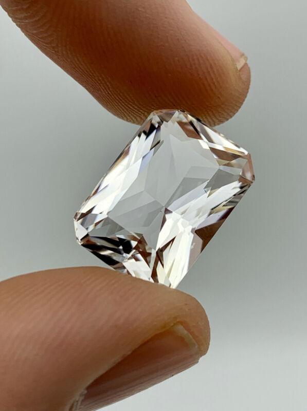 14.48ct Octagon cut faceted NY Herkimer Diamond Quartz Gem, Clear & Brilliant