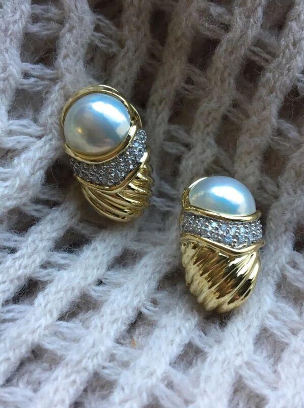Rare David Yurman 18k Yellow Gold Mabe Pearl Diamond Capri Earrings