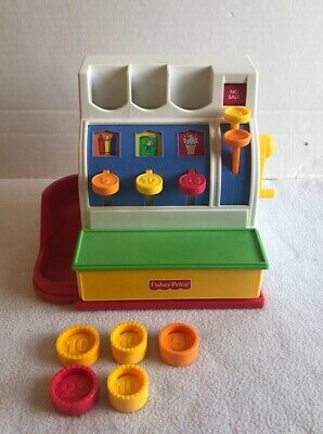 1991 Vintage Fisher Price Cash Register #2044 With 5 Coins Working Bell Pretend