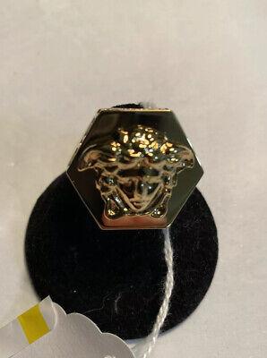 Versace Gold Tone Medusa Hex Ring Men's Size Us 11   27
