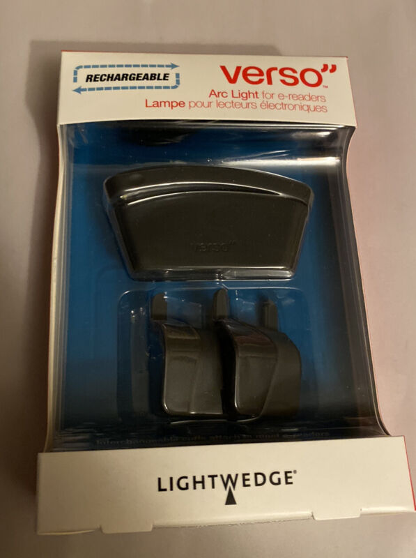 LightWedge Verso Rechargeable Arc Light for E-Readers  Black New