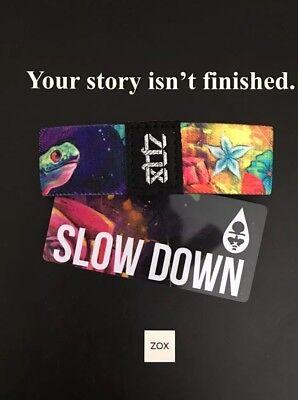 ZOX Strap SLOW DOWN - Reversible Wristband - Black Ink Art Series - Tortoise