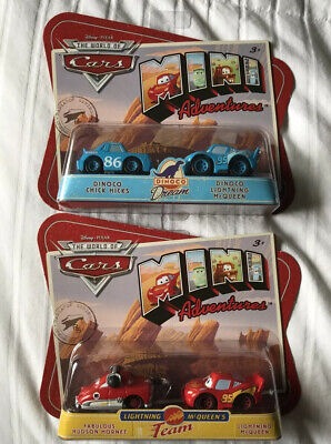Disney PIXAR Cars Minis 2 Set Lot Dino Chick Hicks&Lightning And Hudson&Lightnin