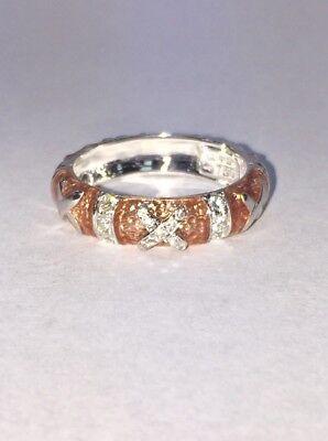 Hidalgo 18K White Gold & Diamonds X Pink Salmon Enamel 5mm Stackable Band Ring