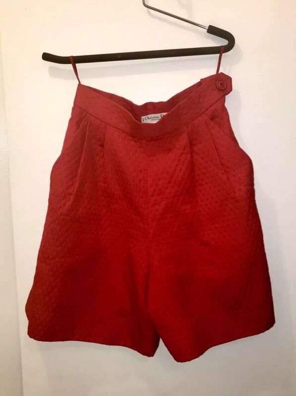 Christian Dior Red Vintage High Waisted Shorts