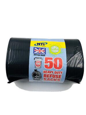 50 HEAVY DUTY BLACK REFUSE SACKS SUPER STRONG RUBBISH BIN BAGS 100 Litre