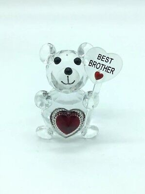 Best Brother Teddy Bear Crystal Glass Lovely Gift For Your Brother