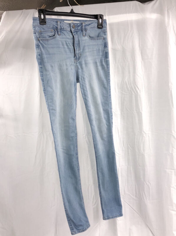 Hollister High Rise Super Skinny Youth Light Wash Blue Stretch Jeans SizeW26 L30