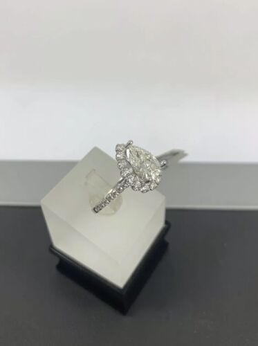GIA Certified 18k White Gold Ladies Engagement Ring 1.36 Ct Brilliant Pear Shape 5