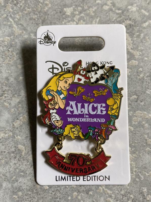 Disney HKDL Hong Kong Disneyland 70th Anniversary Alice In Wonderland Pin LE 600