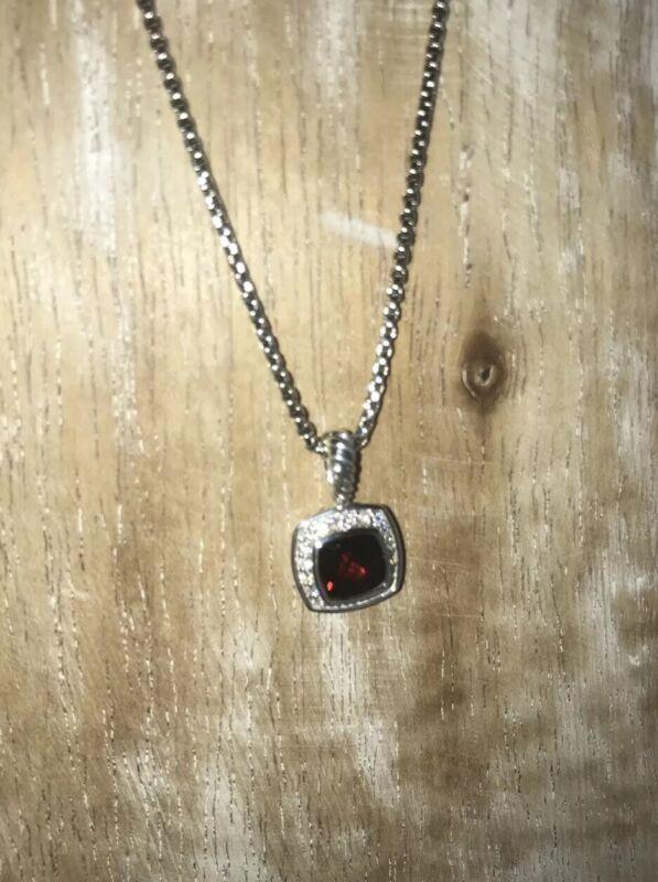 David Yurman Petite Albion Pendant Necklace With Garnet And Diamonds Rare