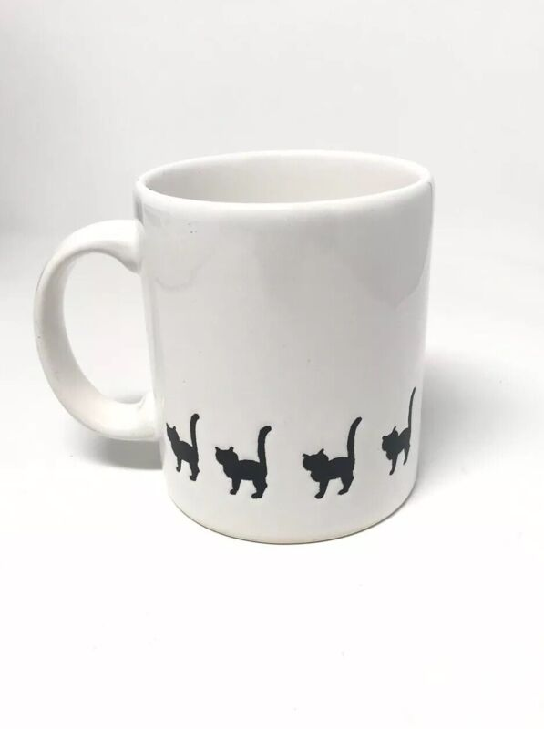 Vintage Waechtersbach Black Cat Mug Cats Walking White Spain