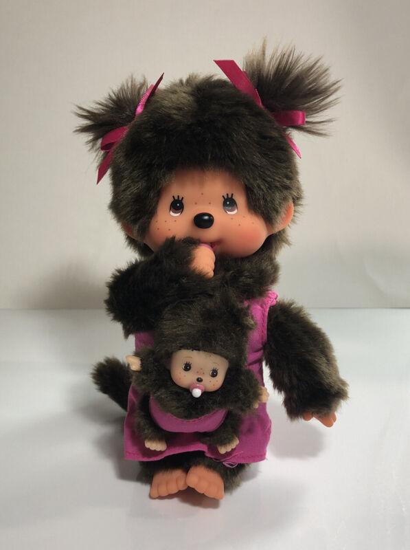 "MONCHHICHI Mother Care Holding BABY Sekiguchi 7.5"" Monchichi Monkey Doll Plush"