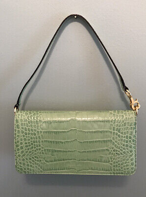 Kate Spade Susanna Geneva Lime Green Croc Embossed Leather Baguette Clutch Bag