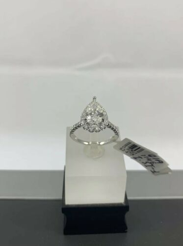 GIA Certified 18k White Gold Ladies Engagement Ring 1.36 Ct Brilliant Pear Shape 4