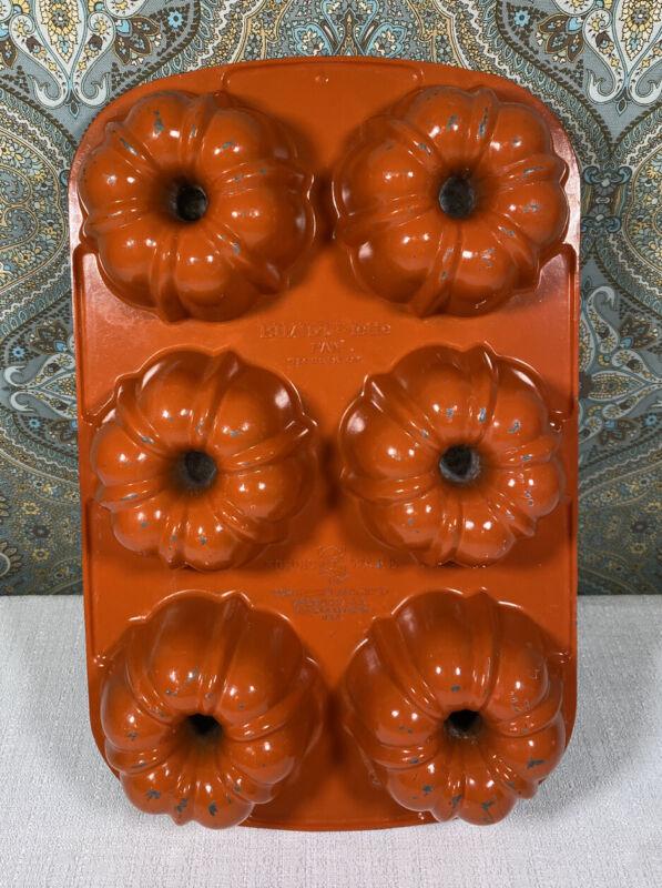Vintage Orange Nordic Ware Bundtlette 6 Mini Bundt Lette Muffin Pan