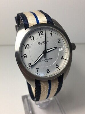 Men's Nautica Steel Watch Military Style Strap Date Sleek New Battery Nice
