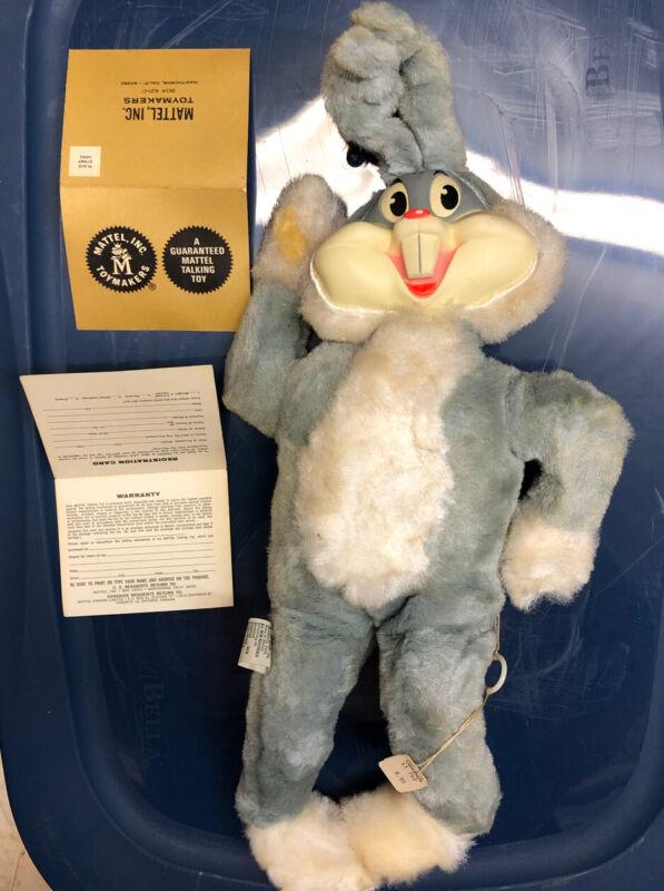 1964 Bugs Bunny Mattel Talking Plush Doll Pull String Rubber Face W/Box Good Con