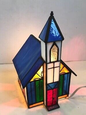 Genuine Stained Glass Christmas Village Church Lighted Tabletop Lamp with Box ()