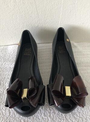Mel dreamed by Melissa Black Flats Shoes Sz 13
