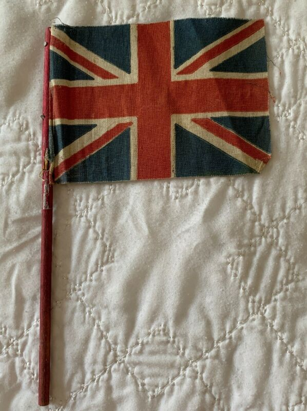 """Small Antique British Parade Flag 4x6"""" Vintage Old Great Britain Union Jack"""