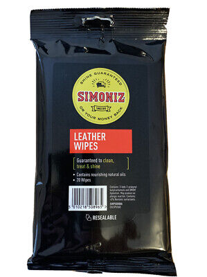 Pack of 20  Simoniz Leather Wipes Car Leather Seats/Furniture Cleaning