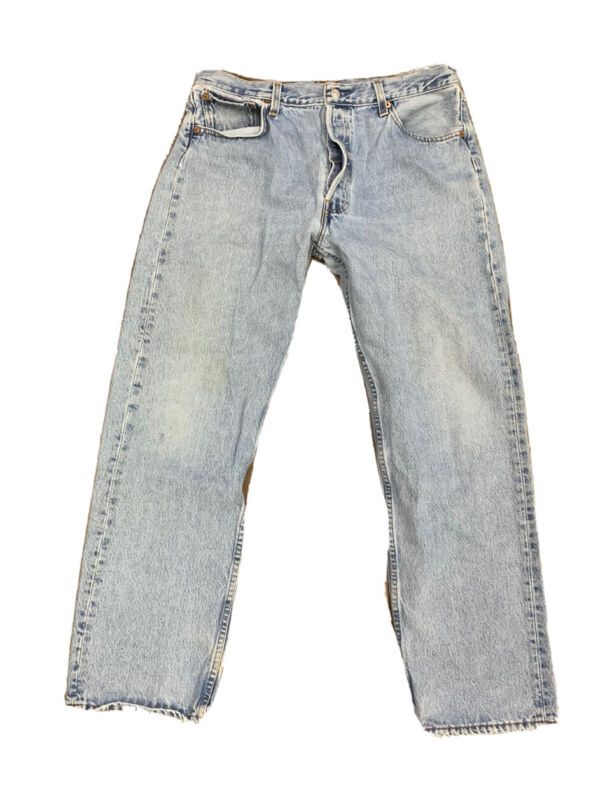 VTG Levis 501 Button Fly Distressed Jeans Size 34 X 30 Made USA