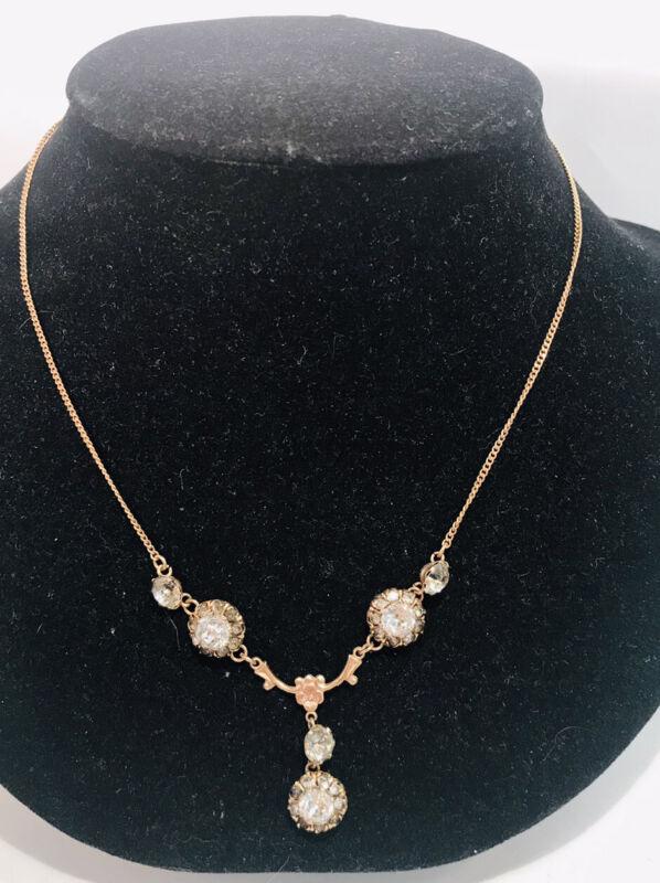 Vintage Victorian Style 1/20 10K Gold Filled GF Signed Lavalier Necklace