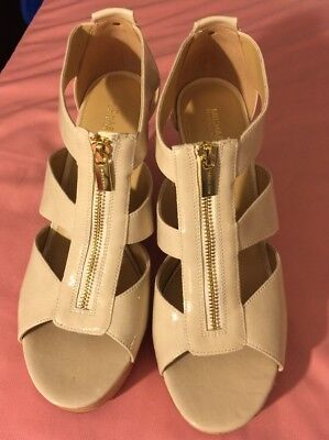 Womens Michael Kors MK Damita Leather Platform Wedge Sandals - Beige, Size 10