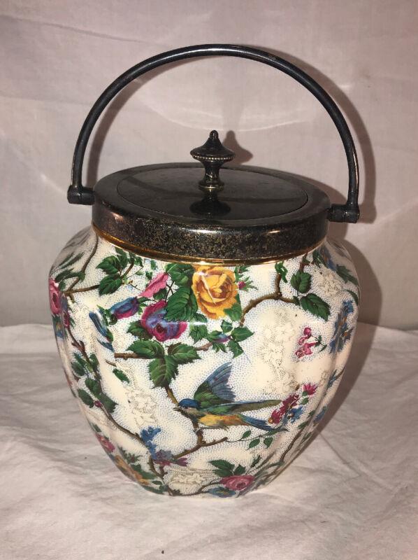 Vtg Barker Bros Royal Tudor Ware Lorna Doone Chintz Bisquit Barrel England-Rare!