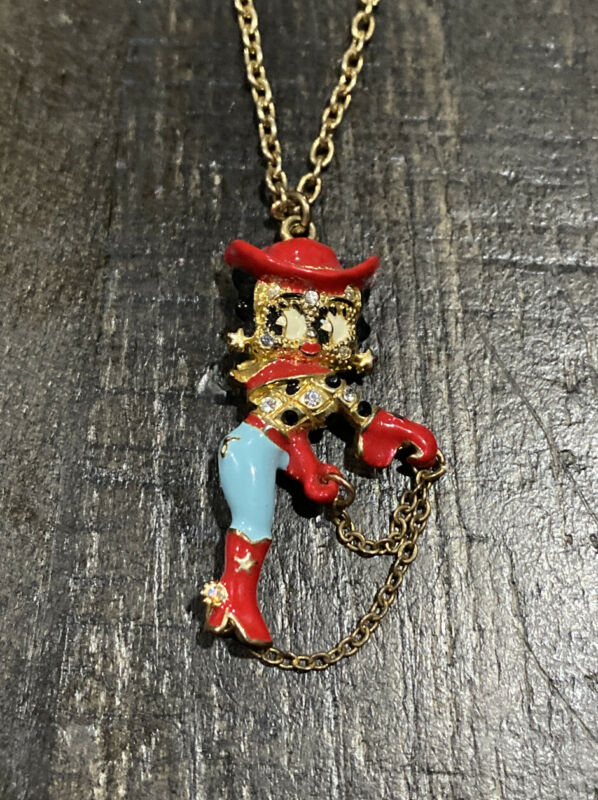 NEW Collectible Betty Boop Cowgirl Pendant W/chain~Gold Tone~Enamel-CZ~FREE SHIP