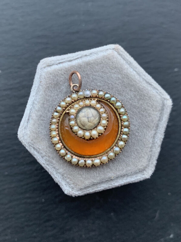 Antique Georgian Carnelian and Pearl Round Locket Pendant Gold